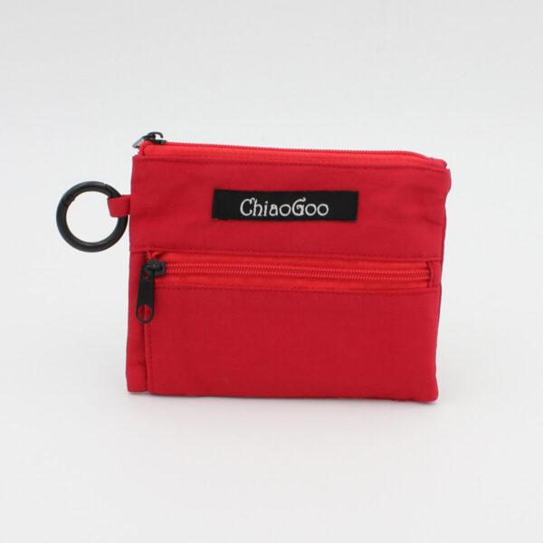 Présentation de la trousse du kit de mini-circulaires interchangeables ChiaoGoo Shorties Small en nylon rouge