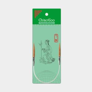 Aiguilles circulaires fixes ChiaoGoo en bambou de 23cm présentée dans son emballage