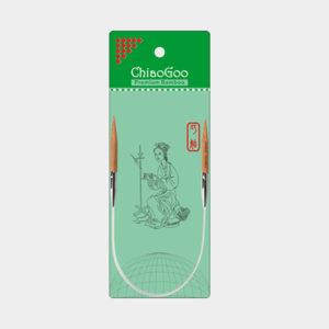 Aiguilles circulaires fixes ChiaoGoo en bambou de 30cm présentée dans son emballage