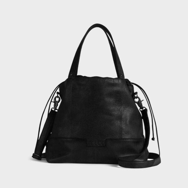 Présentation d'un sac à projet Lofoten, à bandoulière en cuir de la marque Muud, coloris Noir