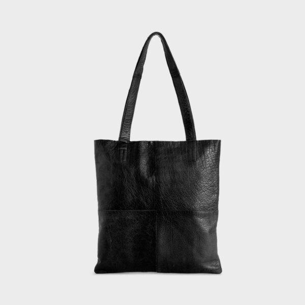 Présentation d'un sac cabas Show de la marque Muud en cuir couleur noir