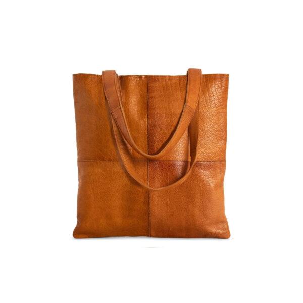 Présentation d'un sac cabas Show de la marque Muud en cuir couleur whisky