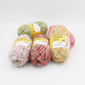 5 pelotes de la gamme Tutti Frutti Cotton de Regia dans différents coloris