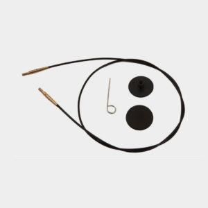 Câbles Knit Pro noirs, avec clé de serrage et embouts stoppeurs de mailles