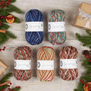 Présentation des 5 pelotes de la collection de Noel 2020 de laine à chaussettes de West Yorkshire Spinners