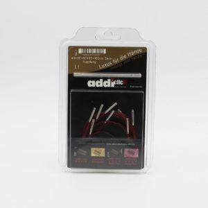 Lot de 5 câbles pour aiguilles circulaires interchangeables Addi Click dans leur packaging