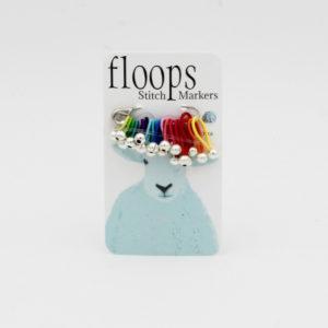 Une plaquette de marqueurs de mailles souples Floops Stitch Markers coloris arc-en-ciel