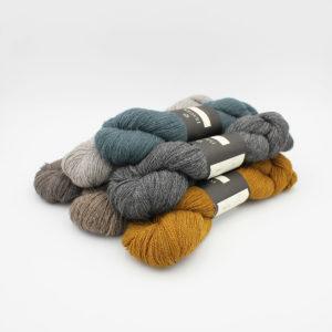 6 écheveaux d'Alpaca 2 d'Isager dans des coloris assortis