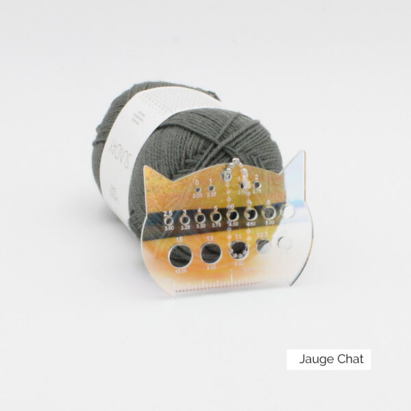 Display of a mini-ruler doubling as needle gauge, made of iridescent acrylic and shaped as a cat head, designed by Katrinkles for their Cat Collection