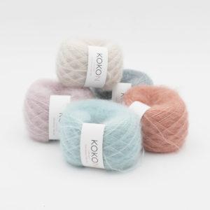 Cinq pelotes de Silk Mohair de Kokon dans des coloris assortis